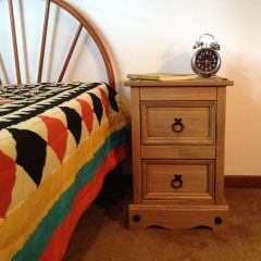 Corona 2 Drawer Bedside Table Chest of Drawers - Mexican Solid Pine