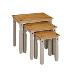 Corona Grey Nest of Tables, Mexican Solid Pine