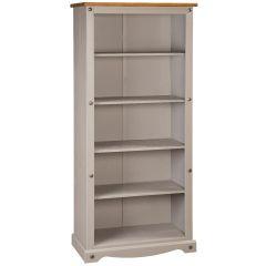 Corona Grey Tall Bookcase - Mexican Solid Pine