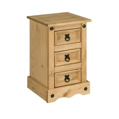 Corona 3 Drawer Bedside Table Chest of Drawers - Mexican Solid Pine