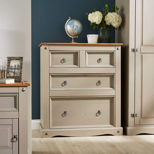 Corona Grey Wax 2 + 2 Drawer Chest of 4 Drawers - Mexican Solid Pine