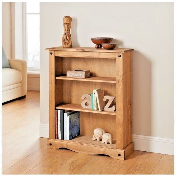 Corona Small / Low Bookcase - Mexican Solid Pine