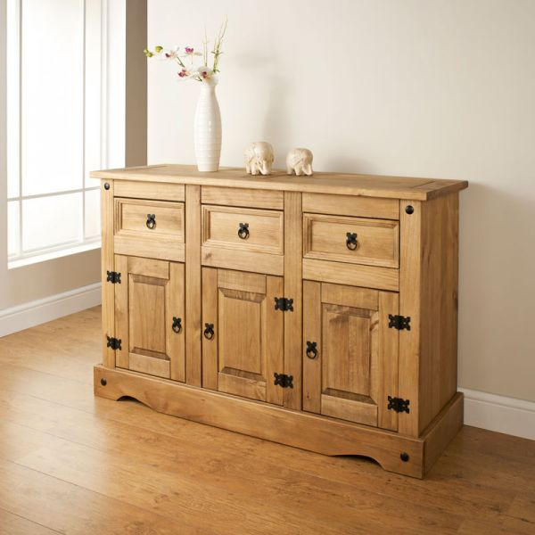 Corona Sideboard 3 Door 3 Drawer Large, Mexican Solid Pine
