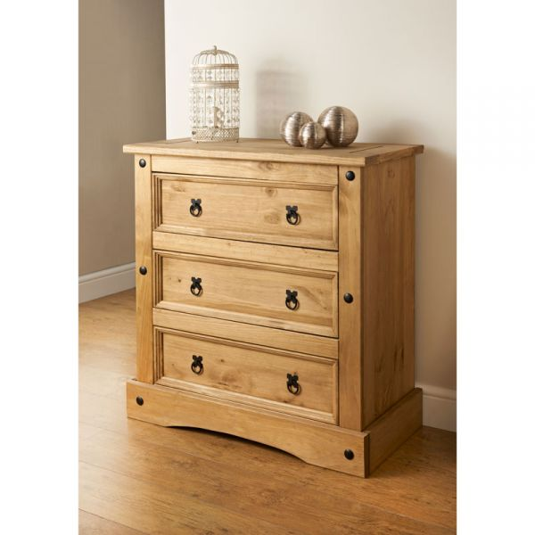 Corona 3 Drawer Chest of Drawers - Mexican Solid Pine