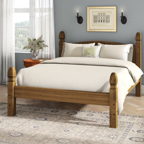 Corona Double Bed Frame 4ft 6 Low Foot End, Mexican Solid Pine
