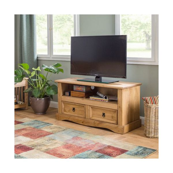 Corona 2 Drawer Flat Screen TV Unit - Mexican Solid Pine