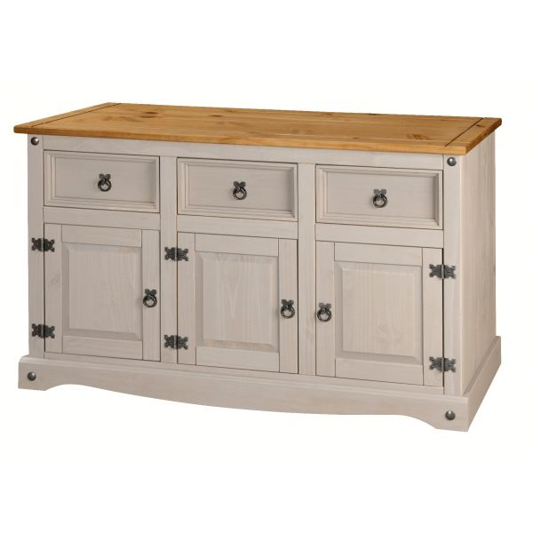 Corona Grey Sideboard 3 Door 3 Drawer Large, Mexican Solid Pine