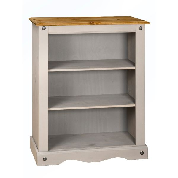 Corona Grey Wax Small / Low Bookcase - Mexican Solid Pine