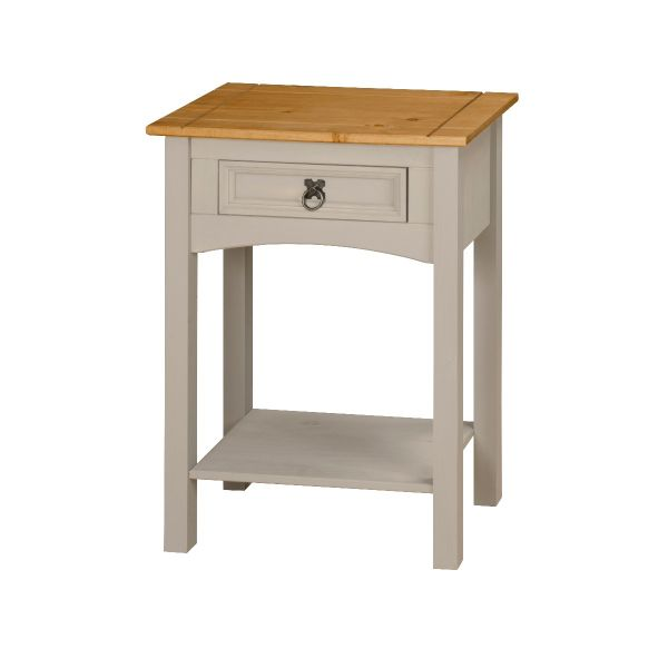 Corona Grey 1 Drawer Console Table - Mexican Solid Pine