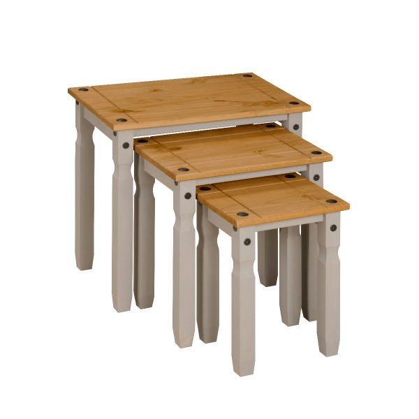 Corona Grey Wax Nest of Tables, Mexican Solid Pine