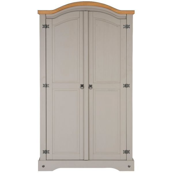 Corona Grey Wax 2 Door Arched Top Double Wardrobe - Mexican Solid Pine