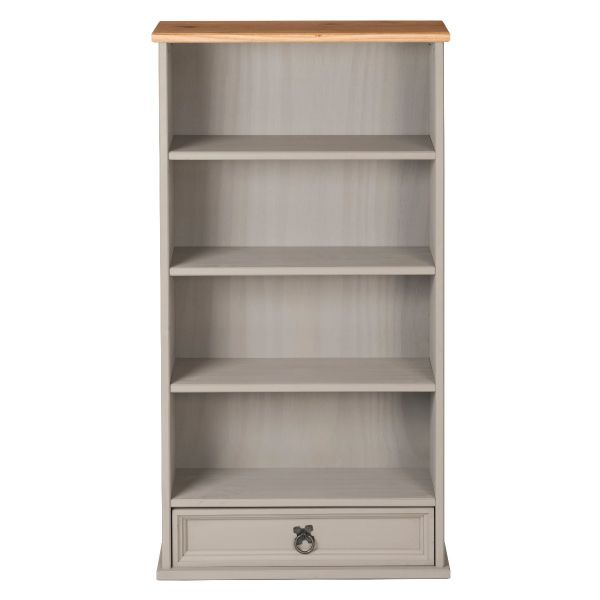 Corona Grey 1 Drawer DVD Rack / Storage Bookcase - Mexican Solid Pine