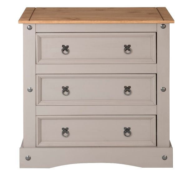 Corona Grey Wax 3 Drawer Chest of Drawers - Mexican Solid Pine