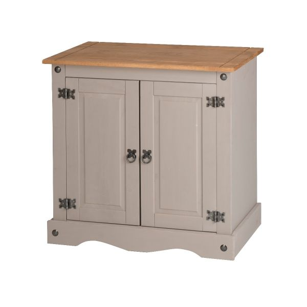 Corona Grey 2 Door Small Sideboard - Mexican Waxed Solid Pine