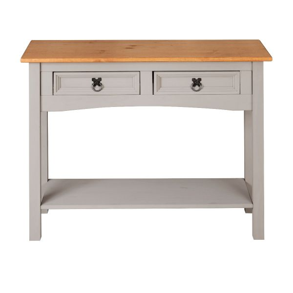 Corona Grey 2 Drawer Console Table - Mexican Solid Pine