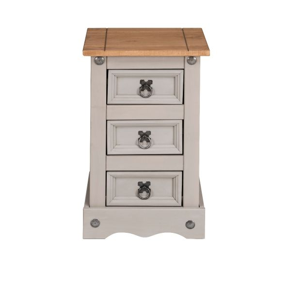 Corona Grey Wax 3 Drawer Bedside Table Chest of Drawers - Mexican Solid Pine