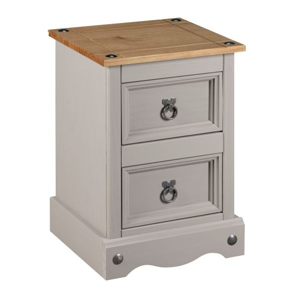 Corona Grey Wax 2 Drawer Bedside Table Chest of Drawers - Mexican Solid Pine