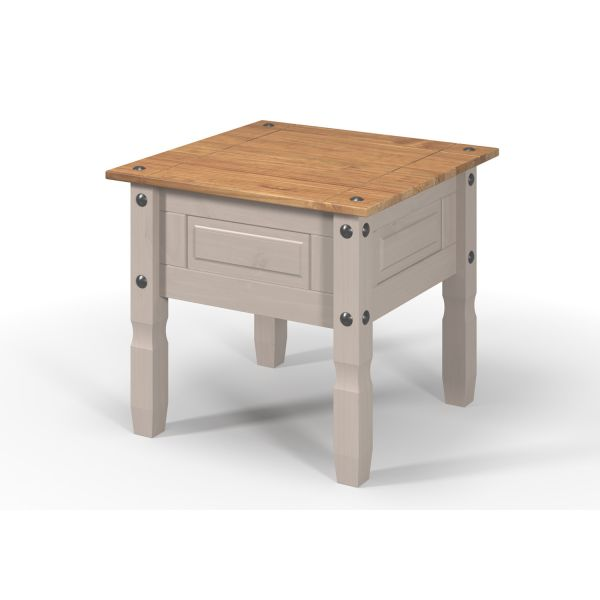 Corona Grey Lamp Table, Mexican Solid Pine