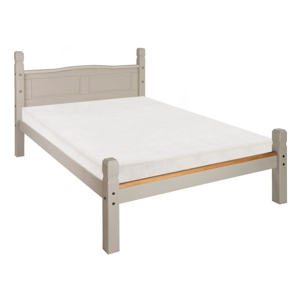 Corona Grey Double Bed Frame 4ft 6 Low Foot End, Mexican Solid Pine